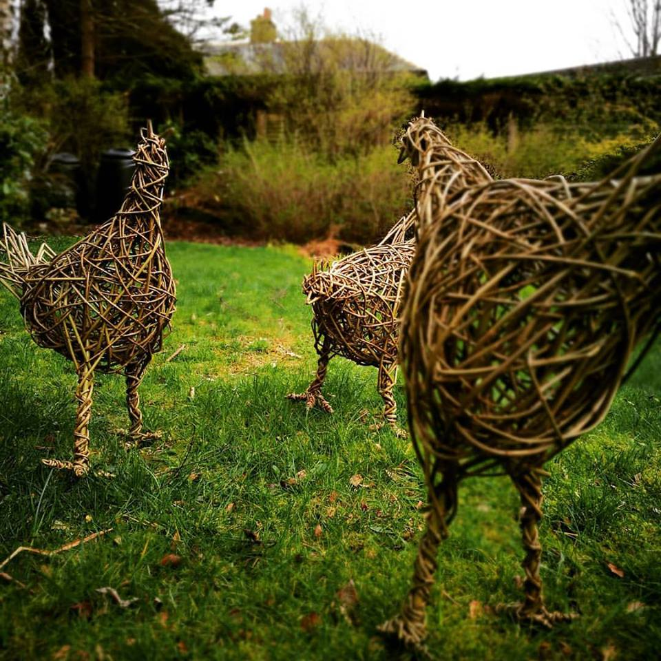 Willow weave sculpture of woman suitable for outdoors